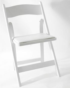 Wood Folding Chair White & White Padded